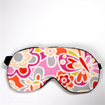 3 Layer Quilted Eye Mask - Bright Boho Butterfly in flower garden
