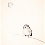 Bird and the Moon 8x10 Print, Ink illustration of Bird, Neutral Black colours