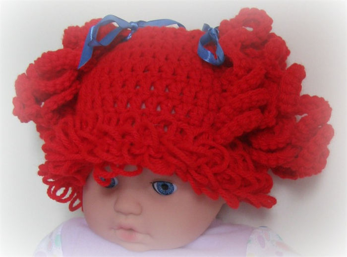 022d66d801b Red Cabbage Patch Wig Baby Girl s Beanie Hat