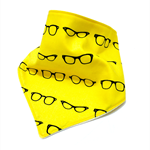 Bandana bib baby dribble bibs boys boy girl girls yellow retro glasses hipster