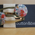 23mm button snap clip pair Liberty of London small floral + free hair tie