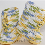 Crocheted Little Combrat Combat Booties. Size 6-12 months
