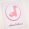 Handmade Baby Card - Pink Giraffe