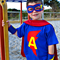 "Personalised ""Super Kid"" Superhero Set - S/s Tee,Cape, Cuffs and Eye mask"