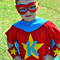 """Personalised """"Super Kid"""" Superhero Set - S/s Tee,Cape, Cuffs and Eye mask"""