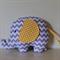 Large Elephant Softie - Purple Chevron & Yellow spot