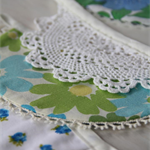 Doily bunting - vintage florals, 2.7m long with 8 double sided flags