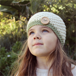 crochet beanie | beret | girls | toddler | cream wool