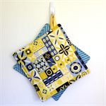 2 x Reversible Pot Holders - Yellow & Grey Spice Stars with blue chevrons