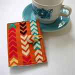 Tea Bag Wallet - Tribal Arrows on Orange with aqua polka dots