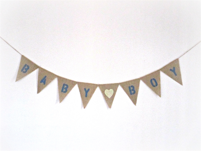 baby boy burlap banner hessian bunting baby shower new baby boy