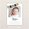 Boys Photo Birth Announcement. Gold and Black Buntings. I Customise, You Print.