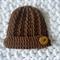 Newborn Textured Beanie with Brim/ Hat/ Pure Merino Wool / Chocolate