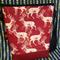 Portrait Panel Shoulder Bag- Ox Blood Vinyl: Deer on Red