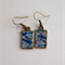 Blue watercolour and ink drawing resin earrings