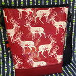 Portrait Panel Shoulder Bag- Ox Blood Vinyl: Deer on Red