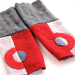 Tubeway Armies Arm Warmers Fingerless Gloves - Reds and Greys