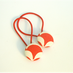 Red and white patterned hair ties, set of two, pony tail holders