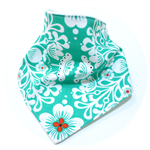 Bandana bib baby dribble bibs turquoise floral babies girl girls boy boys retro