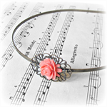 SALE Headband. Metal. Joleen. Filigree. Flower. Coral Red. Alice Band.