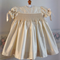 Champagne Silk Hand Smocked Baby Dress - Size 3 months