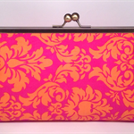 Pink damask large clutch purse