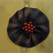 Navy Blue and Red Tartan Hairclip with Red Pearl Cluster in Centre
