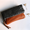 Fold over clutch, sequin clutch, sequin and leather fold over clutch, charcoal