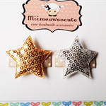 Baby/Toddler Gold & Silver Sequined stars Snap Clips