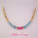 Pink Sapphires Blue Apatite and Gold gemstone necklace
