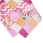 Girls Tumbler Quilt. Cot Size with matching pillow case. Pink, Orange and White