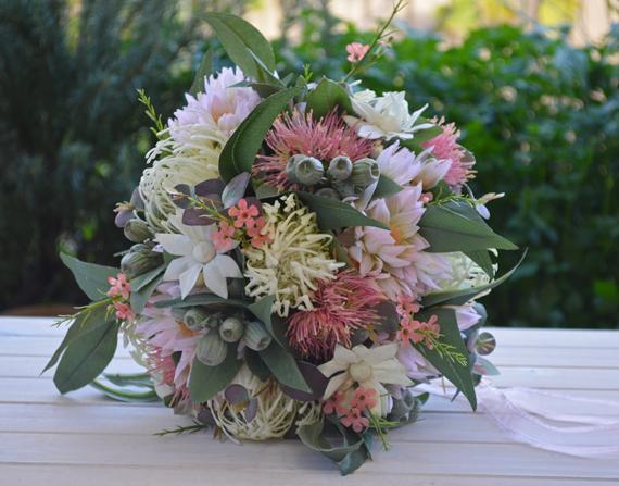 Silk Wedding Bouquets Australia Bouquet Australian Native Pink Sage Cream