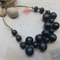 Navy Blue Wood Beaded Necklace