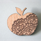 A Wooden Apple Brooch With Brown Lace Detail