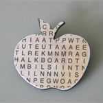 A Wooden Apple Shape Brooch With Alphabet Detail