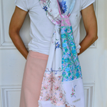 Pink blue patchwork scarf, pastel vintage scarf, womens doily scarf, extra long