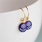 Tiny Flower. Vintage Glass Earrings. Blue. Gold Vermeil