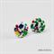 Rainbow Paint Fleck - Resin - Button - Stud Earrings