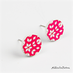 Hot Pink and White Geometric - Button - Stud Earrings