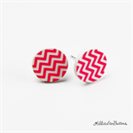 Hot Pink Chevron and White - Button - Stud Earrings
