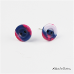 Pink Blue Clouds - Button - Stud Earrings