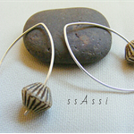 Argentium Sterling Silver range - safari brown stripe glass bead earrings