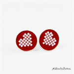 Pixel Heart -Red - Laser Etched - Button - Stud Earrings