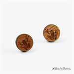 Wooden Frog - Laser Etched - Button - Stud Earrings