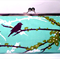 Sparrows in plum large clutch purse