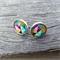 Geometric glass dome stud earrings