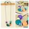 Necklace, Fine Ball Chain, Hexagon Wooden, & Resin Beads in Pale Colours