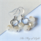 White and light golden Czech glass beaded earrings wedding