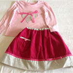 Hearts and bows fuchsia pink skirt and top.  Size 3