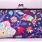 Circus on blue large clutch purse
